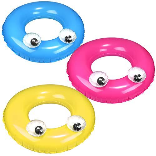 com-four® 3X Aufblasbarer Schwimmring im coolen Design - Bunter Schwimmreifen - Badespaß für Kinder und Erwachsene