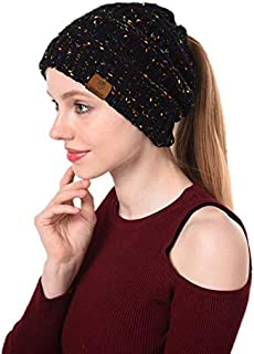 The NoMad Company BeanieTail Soft Stretch Cable Knit Messy High Bun Ponytail Beanie Hat, Fleece Lined, Pompom Hair tie.