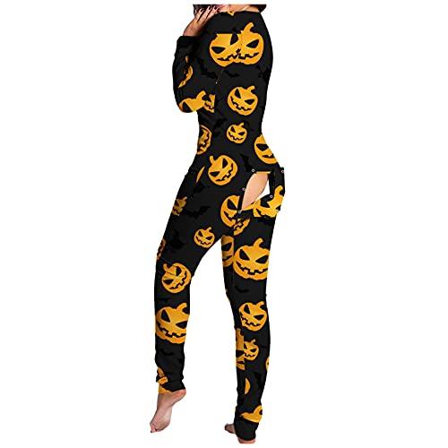 Esque Mono De Pijama para Mujer, Solapa con Botones Funcionales,Mono Mujer Estampado Halloween Funcionales Adultos,LencerA Sexy Hueca Encaje Sujetadores Liguero Body Ropa Dormir