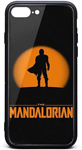 Bonita funda para iPhone 8 Plus/iPhone 7 Plus The-Mandalorian-Silhouette-Poster- Unisex popular vidrio templado negro anti-arañazos TPU goma parachoques protector trasera
