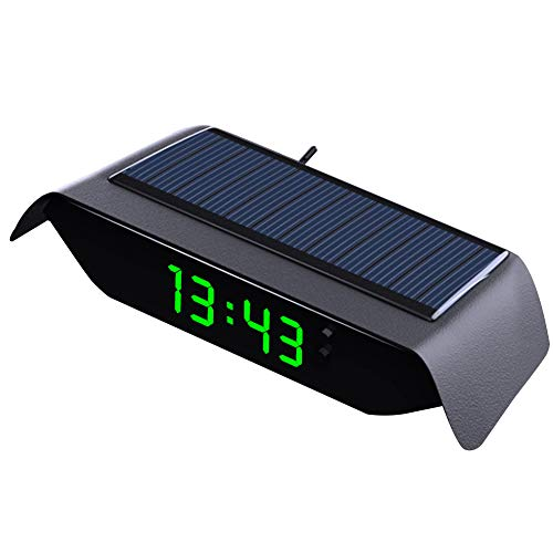 Solar Auto Elektrische Uhr/Thermometer, Auto-Digitaluhr freie Verkabelung, Leuchtend,Hochtemperaturbeständiges, Eingebauter Batterie,Uhr/Temperatur/Woche/Datum/ 4-in-1 (Grün)