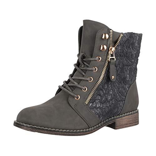 Elara Damen Worker Boots Spitze Stiefeletten Chunkyrayan B9812-KB Grau-41