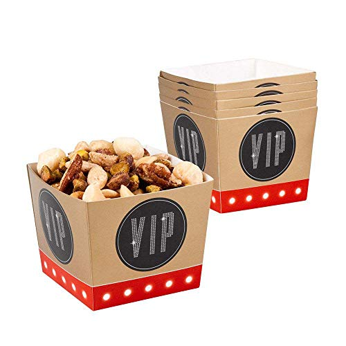Boland 44162 - Popcornschüssel VIP, 6 Stück, Fassungsvermögen 40 cl, umweltfreundlich, Popcornbehälter, Süßigkeitenbox, Schale, Schüssel, Tüten, Einwegbehälter, Mottoparty, Kindergeburtstag