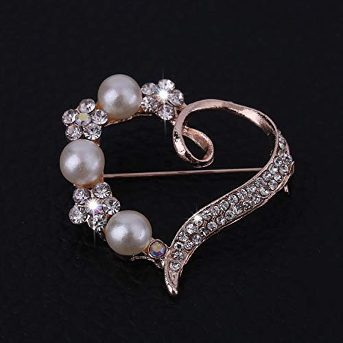 #N/D Moda y romántica decorativa Rhinestone ropa de las mujeres cristalinas forma de corazón brillante broche Pin