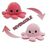 Herbests Juguetes Peluche de Pulpo Reversible, Flip Cute Doble Face Octopus Plush Animal Dolls Peluche de Felpa Juguetes de Peluche Pulpo para Niños Regalos para Bebés,Rosa claro+rosa