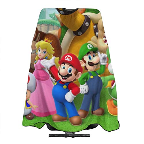 Super Mario Polyester Baber Cape, Reusable Haircut Cutting Hair Beard Hairdressing Capeh,Adjustable Snap Closure Apron Waterproof Salon Capes 5566 in
