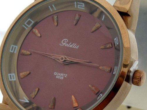 Goldlis U-Nine Herrenuhr im Braun/Bronze Look mit krokogenarbtem Armband