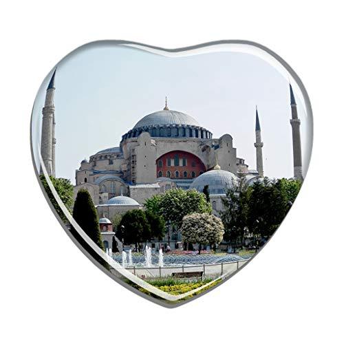Hqiyaols Souvenir Die Türkei Hagia Sophia Church Istanbul Kühlschrankmagnet Herzform Kristall Kühlschrank Aufkleber Magnet Reisen Geschenk Sammlerstücke Andenken
