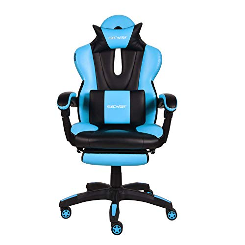 Video Gaming Office Chair Computer Desk Chair Racing Style High Back Chair Executive and Ergonomic Style Swivel Chair with Headrest and Lumbar Support Sky Blue blue chair gaming