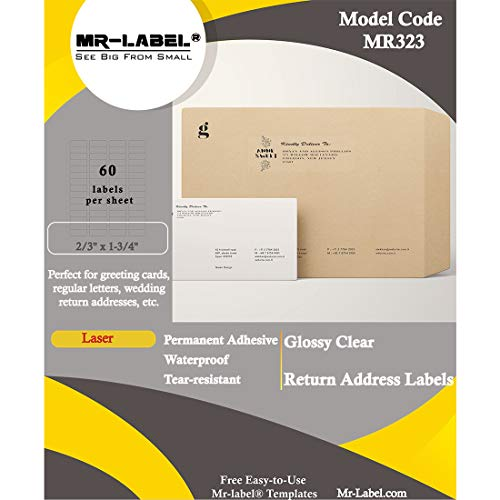 """Mr-Label 2/3"""" x 1-3/4"""" Glossy Crystal Clear Return Address Labels - Waterproof and Tear-Resistant - for Laser Printer Only - Permanent Adhesive (600 Labels)"""