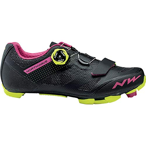 Northwave Razer Mountain Bike Shoe - Women's Black/Fuchsia/Yellow Fluorescent, 40