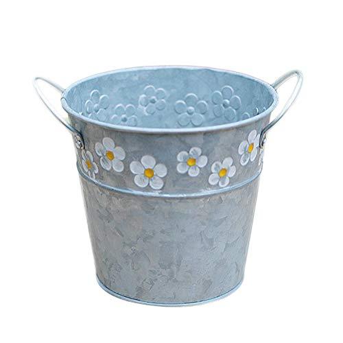 Yardwe Vintage Metall Eimer Mini Blumentopf Runde Pflanztopf Übertopf Blumeneimer Dekoeimer Hängenden Pflanzer Töpfe für Party Hochzeit Garten Deko