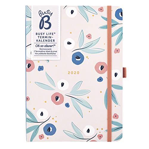 (DEUTSCH) Busy B Terminkalender 2020 für Vielbeschäftigte mit Blumen – A5-Planer mit zwei Terminplänen und Steckfächern