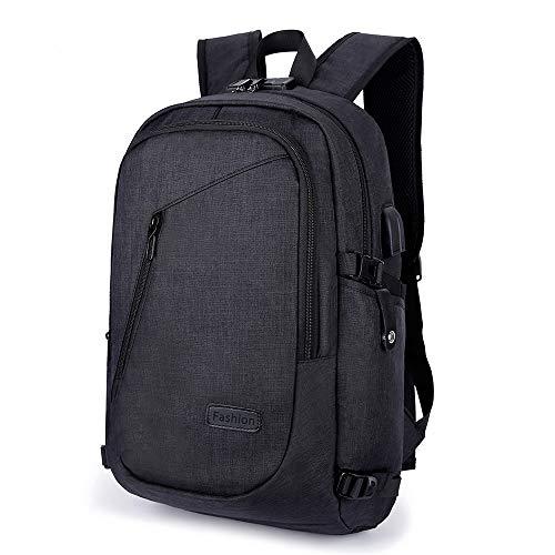 XQXA Mochila para computadora portátil de 15.6 pulgadas, mochila para hombres con puerto de carga USB, mochila para computadora portátil para viajes diarios de oficina de negocios