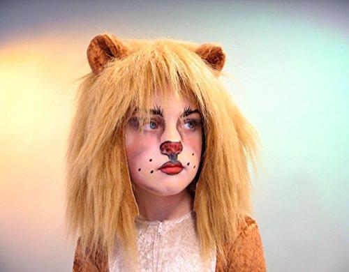 Plüschhaube Löwenhaube mit Ohren Löwe Kinder Karneval Tiermütze
