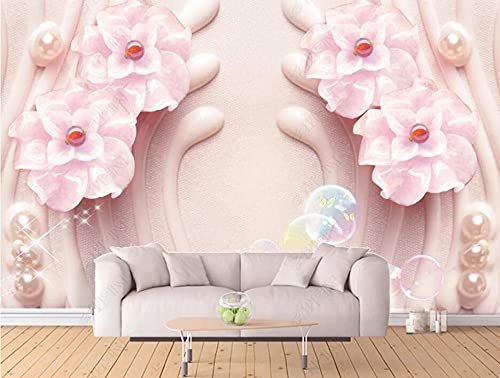 Wallpaper 3D Wallpapers for Walls Mural Embossed Pink Flower Jewelry Wall Murals for Bedrooms and Living Room Tv Background Wall Mural Decoration Art 430cmx300cm
