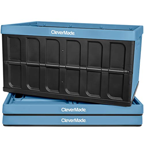 CleverMade 62L Collapsible Storage Bins - Folding Plastic Stackable Utility Crates, Solid Wall CleverCrates, 3 Pack, Slate Blue, 8034115-7043PK