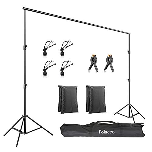 Support de Fond Réglable 2x3m avec 2+4 Pinces pour Toile de Fond, 2 Sacs de Sable et 1 Sac de Transport pour Photographie Studio Photo Portrait Vidéo Mariage