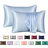 MR&HM Satin Pillowcase Set of 2, Queen Size Silky Pillow Cases for Hair and Skin No Zipper, 2 - Pack Pillow Cover with Envelope Closure (20x30, Light Blue)