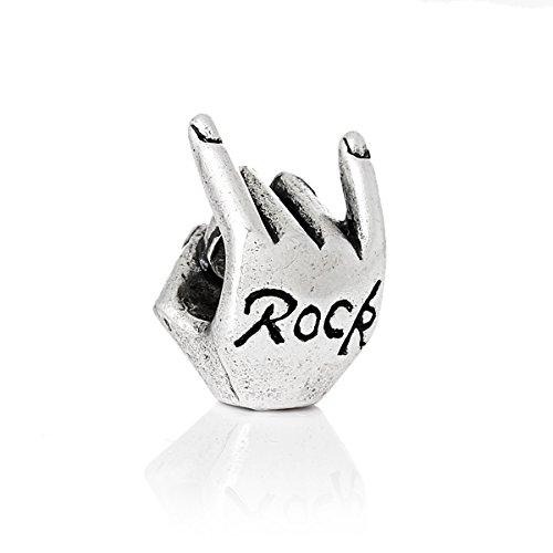 Sexy Sparkles Damen-Charm-Perle Rock Carved Hand kompatibel mit den meisten Schlangenketten-Armbändern