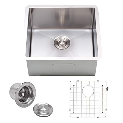 """VADANIA 20-inch Kitchen Bar Sink, 20""""x18""""x10"""", Single Bowl, Undermount, 18 Gauge T304 Stainless Steel, Satin Finish, with Strainer & Bottom Grid, cUPC listed"""