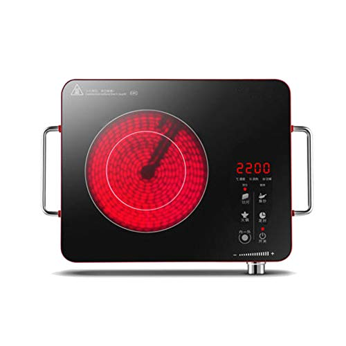 Infrarot Kochplatte - Elektrisch, 2200 W,Überhitzungsschutz, Stufenlose Temperaturregulierung, aus Glaskeramik und Edelstahl - Kochfeld, Einzelkochplatte, Herdplatte, Minikochplatte