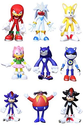 Conjunto figuras Sonic 9 piezas/juego de personajes de acción de PVC de dibujos animados multi-sónicos sombra sónica Amy rose nudillo cola colección modelo muñeca juguete regalo para niños