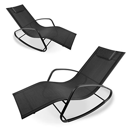 WeCooper Zero Gravity Rocking Chair, Patio Chaise for Indoor and Outdoor, Wavy Lounge Chair for Yard and Patio, Removable Headrest, Black and Silver, Twin Pack