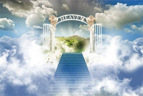 AOFOTO 7x5ft Stairway to Heaven Photography Background Paradise Gate Backdrop Sky Clouds Stairs Religion Philosophical Topic Church Christian Play Kids Angel Photo Studio Props Vinyl Video Drape