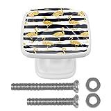 Juego de 4 tiradores redondos para cocina, aparador, armario, baño, armario, flamenco dorado con patrón de rayas negras