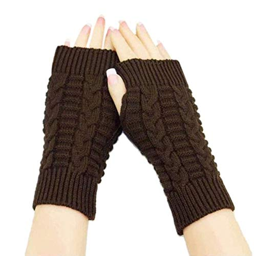 DioLm Winter Weiblich Hand Arm Häkeln Strickhandschuhe Fingerlos Gestrickt Handgelenk Handschuh Halbfingerhandschuhe luvas, Kaffee