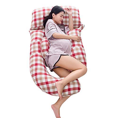 WJX G Shape Körperstützkissen, Ganzkörper-Schwangerschafts- und Mutterschaftskissen, Stillen und Stillkissen mit auswechselbarem und waschbarem Bezug, (185cm x 80cm)