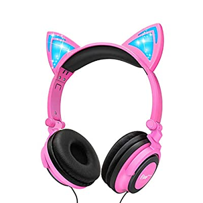 Kids Headphones for Girls, Cat Ear Headphones with Led Light and Volume Limit, Wired Foldable Headphones On Ear for PS4,PS3,Smartphone,Tablet, Laptop (Pink) by Esonstyle