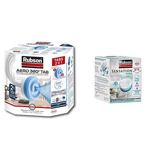 Rubson AERO 360° Recharges en tabs neutres pour absorbeur d'humidité, 2 x 450 g & Sensation Pure, 2 Recharges universelles de 300 gr pour absorbeur d'humidité, Recharges 3-en-1 anti-humidité
