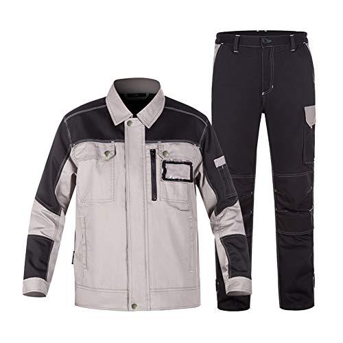 YJKJ Abrigo de desgaste de trabajo, chaqueta de soldadura, 100% algodón cuatro estaciones traje antiestático anti-escaldado soldador de algodón, fábrica, construcción, reparación de coche, C, XL