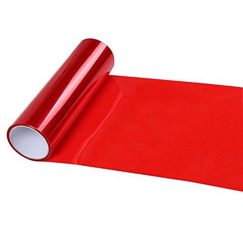 KKmoon Pellicola per fari Auto, Impermeabile Pellicola Protettiva in PVC per fari Anteriori e fari Posteriori, Adesivo per Auto, Rosso