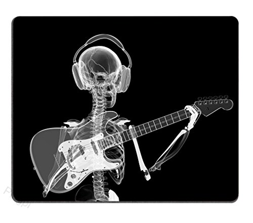 Pingpi Gaming Mouse Pad Custom Design Mat, Abstract x-ray Skull Skeleton in Headphones Playing Guitar Design Art,9.5 X 7.9 Inch (240mmX200mmX3mm)