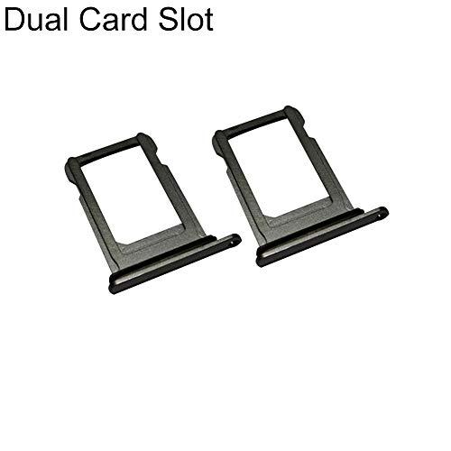 zNLIgHT Interne Telefoononderdelen | Vervangende Metalen Telefoon Enkele/Dubbele sleuf SIM-kaarthouder Lade voor iPhone Xs Max - Zwart 2 stks Dual Card Slot