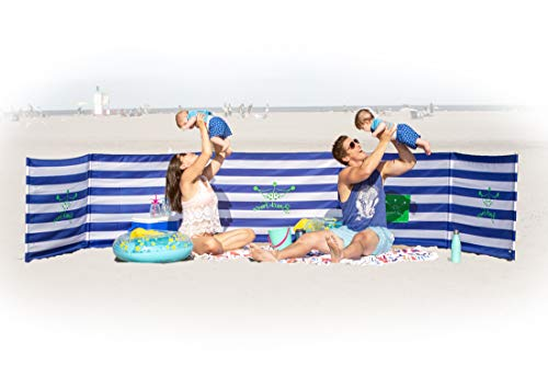 BEACH FENCE 20 ft Beach Windscreen, Privacy Screen, Wind Blocker - Original Nautical, with Mallet and Carry Bag