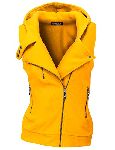 Doublju Womens Hooded Zip-Up Vest with Zipper Detail and Plus Size Mustard 2X