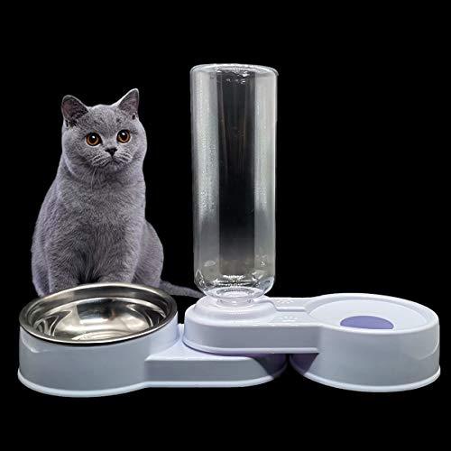 ZXT 2 in 1 Comedero y Bebedero Automático para Gatos y Perros,Dispensador de Agua Pequeño, Comedero de Perros para Ralentizar la Comida, Gato Comedero De Agua para Mascotas, (Blanco y Azul) (Blanco)