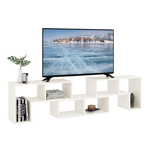 DEVAISE 3 Pieces TV Console Stand, TV Table Modern Entertainment Center Media Stand, Storage Bookcase Shelf for Living Room, White
