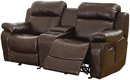 Best Homelegance Marille Reclining Loveseat w/ Center Console Cup Holder, Brown Bonded Leather