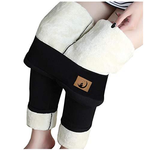 SmallYin Leggings de Terciopelo de Cordero de Gatito Acolchado de Felpa para Mujer OtoñO e Invierno Medias de Cintura Alta Pantalones Suaves y CáLidos (Negro)