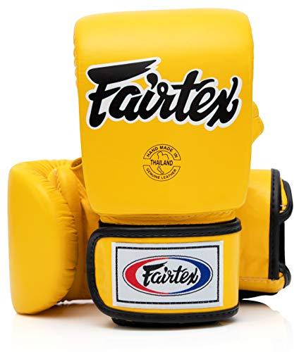 Fairtex Muay Thai Bag Gloves TGO3 TGT7 Color: Black Red Blue White Yellow Size: Medium Large Training & Sparring Bag Boxing Gloves for Kick Boxing MMA K1 (TGO3 - Yellow, Medium)