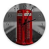 Decoración moderna de reloj de pared, cabina de teléfono roja de Londres, relojes de pared grandes (silenciosos) para sala de estar / baño / cocina, con pilas, interior, exterior, madera, pared redond