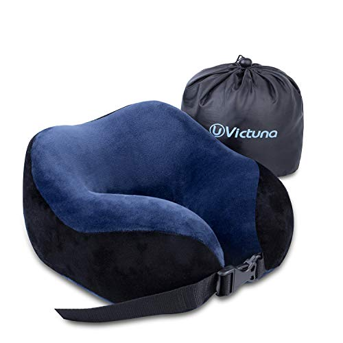 Victuna Upgraded Travel Pillow for Airplane, Stable & Full Support Memory Foam Neck Pillow, Compact & Lightweight, Super Soft Velvet Cover