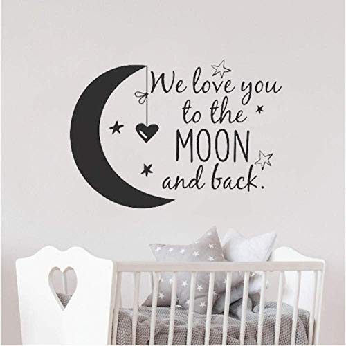 Moon With Stars Vinyl Wall Decal Kids Room Nursery Decoration I Love You To The Moon And Back Quote Sticker Baby Gift57X42Cm