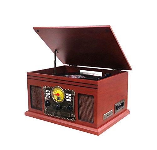 Angoel Nostalgie Retro Kompaktanlag Retro Plattenspieler Stereoanlage Multifunktion Musikanlage Kassette Radio CD-Player USB SD Karte Aufnahmefunktion