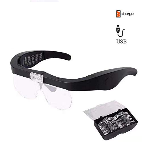 2 LED Lupenbrille Kopflupe mit Licht,1.5X bis 5X abnehmbare Linsen-Kopfbandlupe Stirnlupe Brillenlupe mit Beleuchtung für Brillenträger,Lesen, Handwerk,Juweliere, Nähen,Elektro und Reparatur Hobby